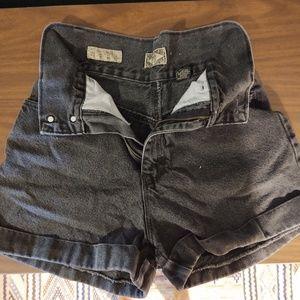 Vintage Express High Waisted Black Jean Shorts